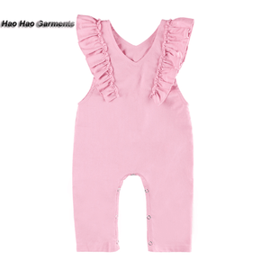 Wholesale Baby Pure Color Linen Onesie Kids Flutter Sleeve Simple Design Baby Clothes Romper