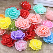 50pcs 3cm Small Mini Roses Foam Artificial Flowers For Wedding Festive Decoration Handmade Pompom DIY Craft Accessories