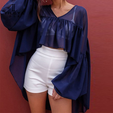 Chiffon blouse v neck long sleeve top shirts, fancy tops for girls,custom blouse & top