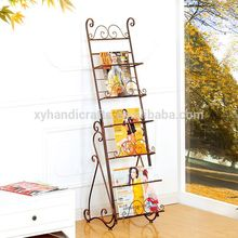 6 shelf Metal Mobile Black Literature Magazine Display Racks Modern Brochure Holder