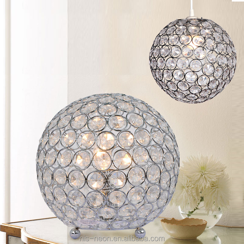 Droplets Ceiling Pendant Light Shade Jewel Ball Chrome Crystal Chandelier Table Lamp & Beside Lamp NS-121153