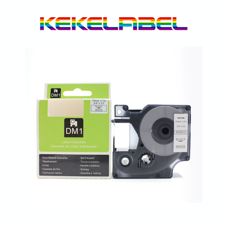"Kekelabel Compatible 19mm D1 Dymo 45803 label Black on White - 3/4""X 23' tape for p touch typewriter"