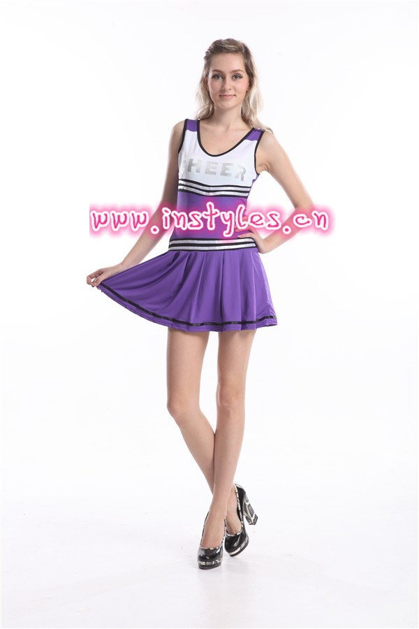 2015 wholesale instyles purple glee cheerleader costume school girl sexy uniform size s-2xl