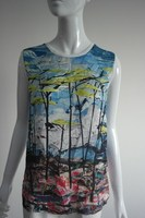 New arrival digital printing sleeveless blouse