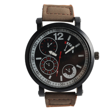New product thin case16mm brown leather man watch from China factory
