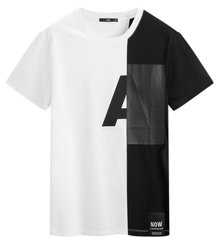 2017 Jersey Two Color Contrast Half White Half Black T Shirt Pattern For Men