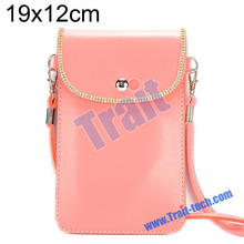 19 x 12cm Magnetic Button Snap Universal Cell Phone Leather Shoulder Strap Phone Bag Pouch Message Bag