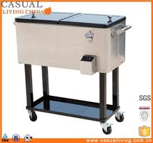 Rolling Metal Beverage Ice Cooler Cart With Stand