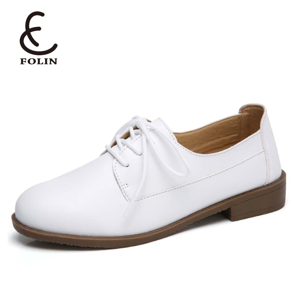 beautiful pu leather made in China womens shoes ladies easy buy in bulk lace up simple lady flat off white shoes