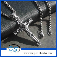 men's heavy biker gothic Jesus On The Cross Pendant Necklace Chain