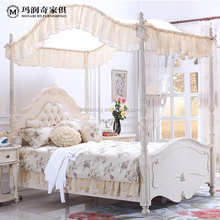 NEW Classical luxury antique Solid wood european style princess style white four poster bed room furniture bedroom set(B0005)