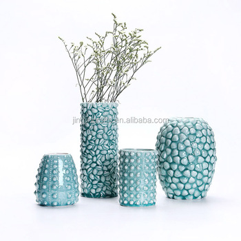 sea shell blue ceramic vase