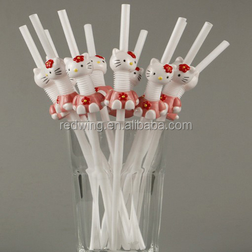 Cartoon White Plastic Cocktail Drink Straw For Bar