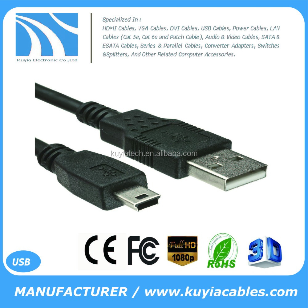 Kuyia Black 1.5M 5FT USB Male to Mini 5pin USB Male Data Charger Cable For MP3 Mp4 Camera GPS V3 cable