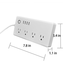 US WiFi Smart Wall Socket with 4 AC Plugs & 4 USB Charging Ports, Compatible with Alexa, Voice Controlled by Echo