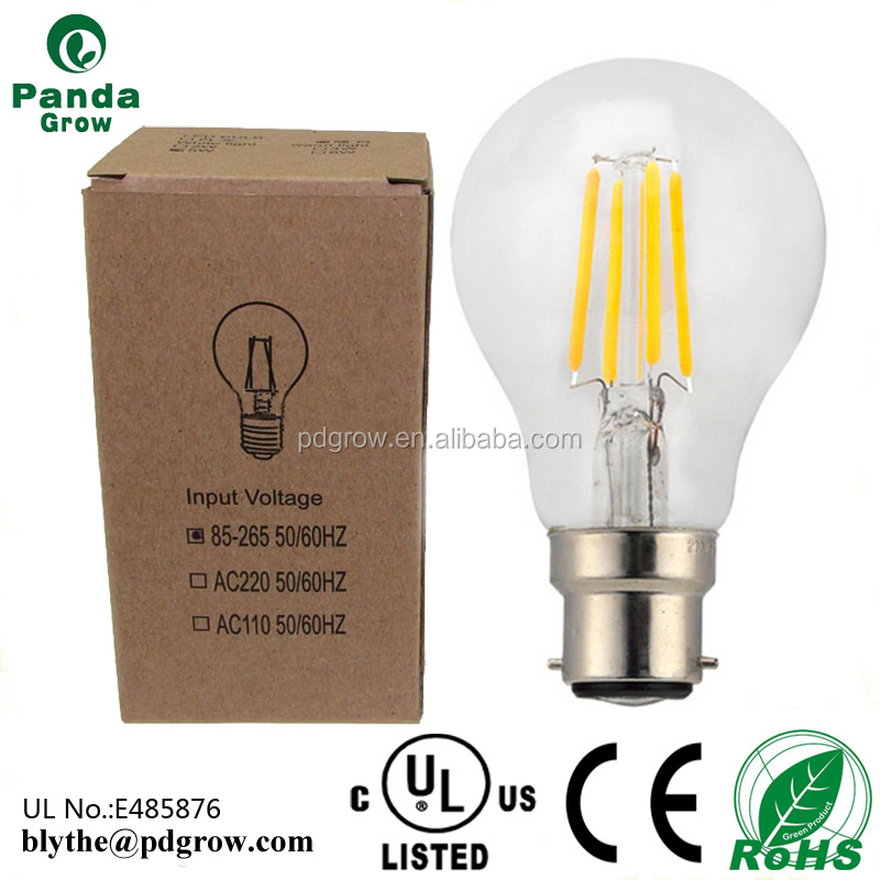 UL PSE low voltage A60 dimmable led filament light A19 E27 B22 bulbs
