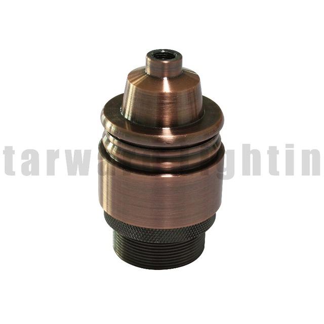 Red Copper Brass Screw Thread DIY Light Socket Vintage Copper Lamp Holder for E26 E27 Light Bulbs