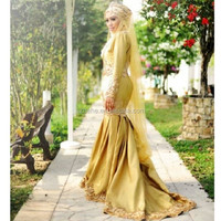 MZY711 Afric golden floor length robe de mariage wedding dress africa dress muslim hijab dubai mermaid wedding dress 2015