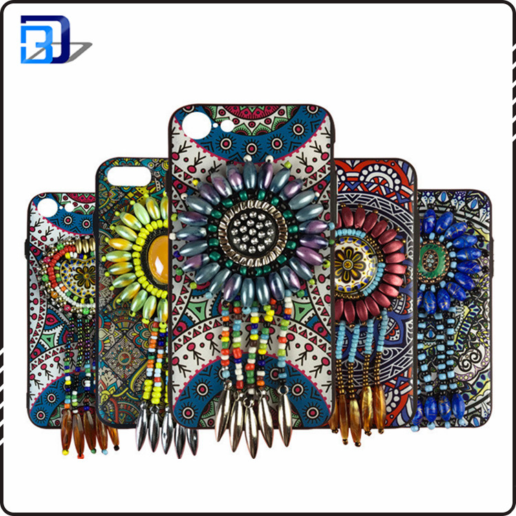 NEW National style jewelry Bead work mobile phone case for iPhone 7, 7 Plus