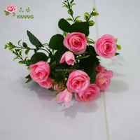 14 heads artificial mini rose wedding artificial flower bush with green stem