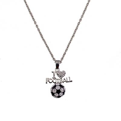 wholesale sports themed Jewelry rhinestone I love soccer charm pendent necklace