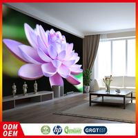 Cheapest Price Customizable Living Room Decorative Lotus Flower Pattern Pvc Wall Paper