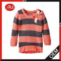 Girls' heavy weight stripe pullover sweater with bow applique