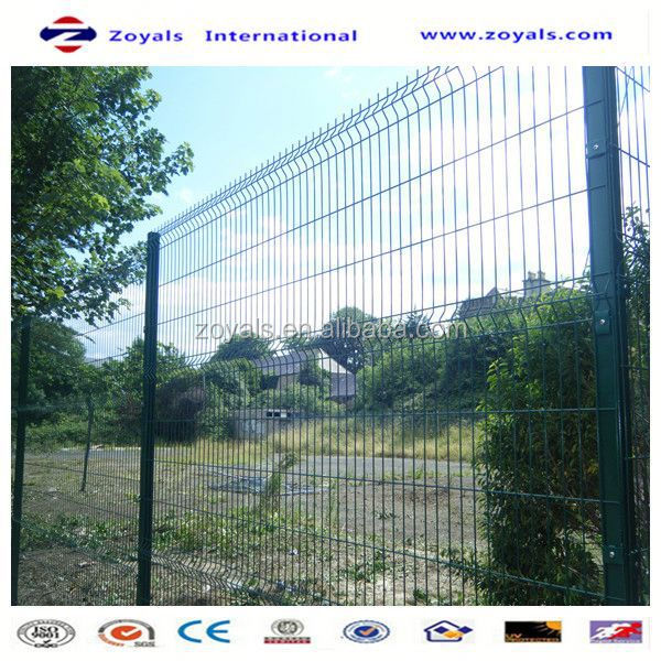 Manufacturer ISO9001 green powder coated 3v bends pvc welded wire mesh fence for road