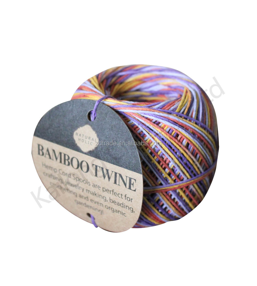 2015 New Variegated waxed Hemp cord balls for DIY crafts Tie-dyed Bamboo