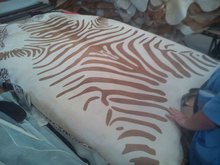 Cow Hair on Hides on Natural Shape Stencil