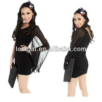 2012 new black nightclub elegant chiffon sleeve party dress B214