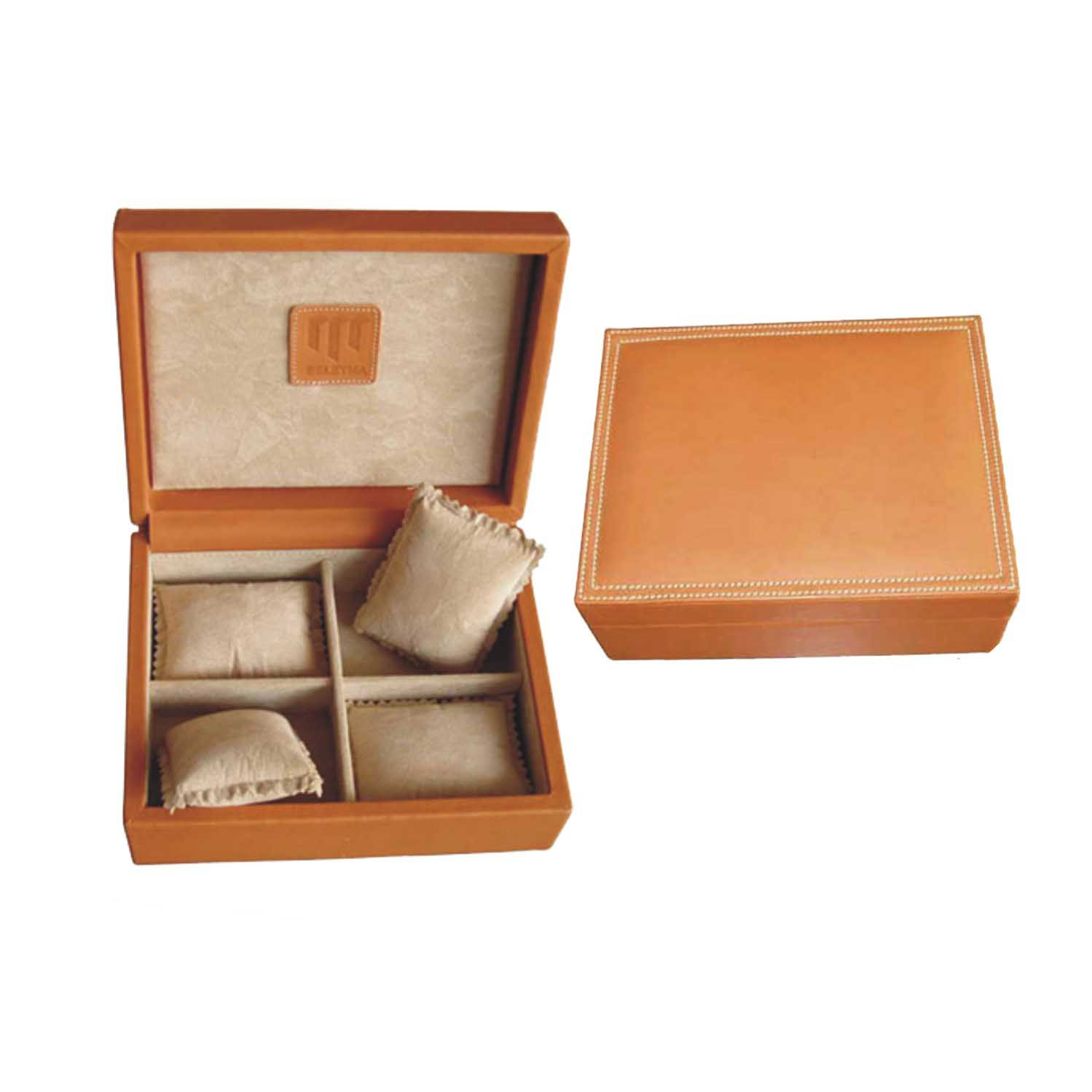Brown rectangle velvet watch holder with pillow wooden watch box