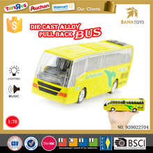 Wholesale kids play toys pull back alloy electric mini bus