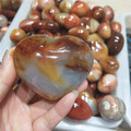 A very good natural agate carved make heart--shaped stone