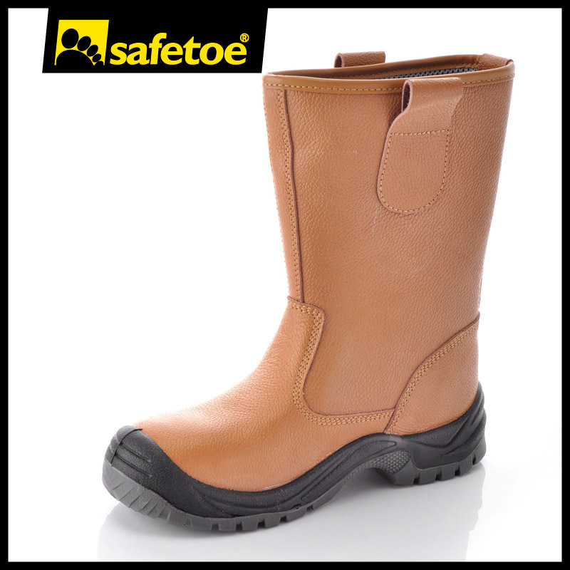 Safetoe Safety Boots Mens Work Shoes Steel Toe Construction Brown Leather