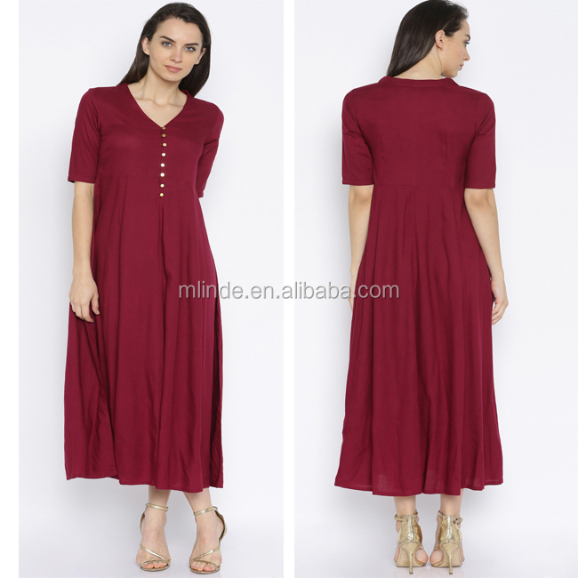 2017 New Model Women Casual Maroon V Neck Sexy A-line Midi Sleeves Western Plus Size Club Long Dress In European