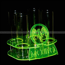 4 slot Neon Green Acrylic Flight Trays, Fluorescent Green Lucite Acrylic Shot Glass Tray with Engraved logo