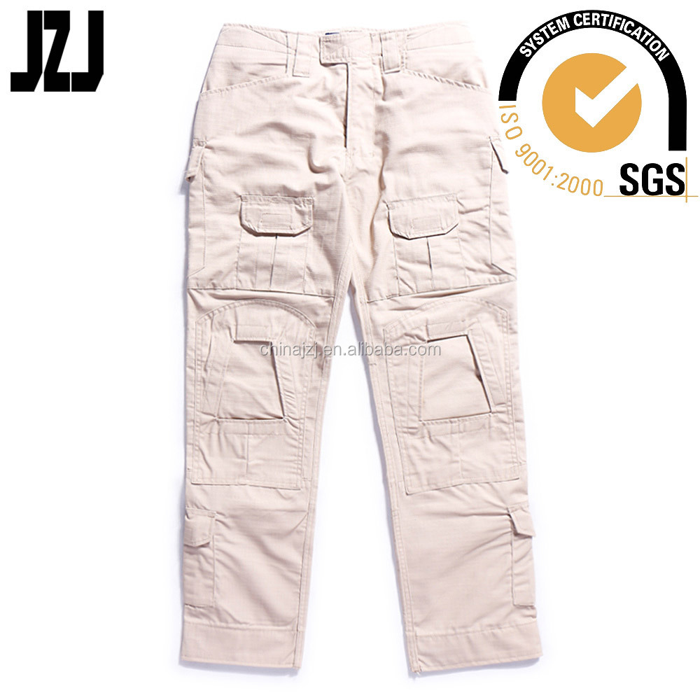 combat army khaki cargo pants with a lot of pockets