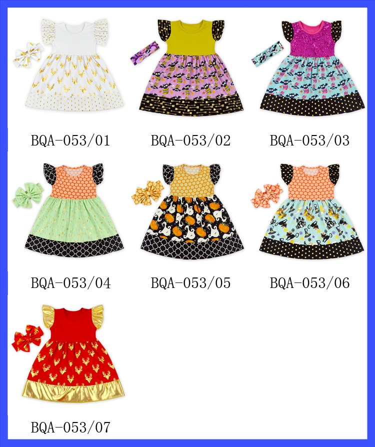 Wholesale little girls boutique remakes ruffle frocks designs girl party wear western halloween dress