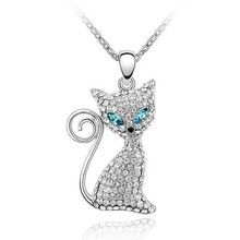 Free Shipping Made With Crystal from Swarovski Cat Necklace Fashion Necklace 2015