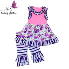 Wholesale Baby Cotton Clothes Kids dresses & stripe shorts Children Summer Clothing Sets