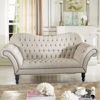 shop from factory royal beige button tufted fabric vanity sofa/settee