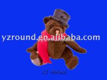 Halloween plush teddy bear toys wearing handsome cap&scarf