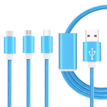 2018 New design Nylon braided 18AWG 4 in 1 gift usb cable for iphone , 2.4A android fast charging cable for huawei