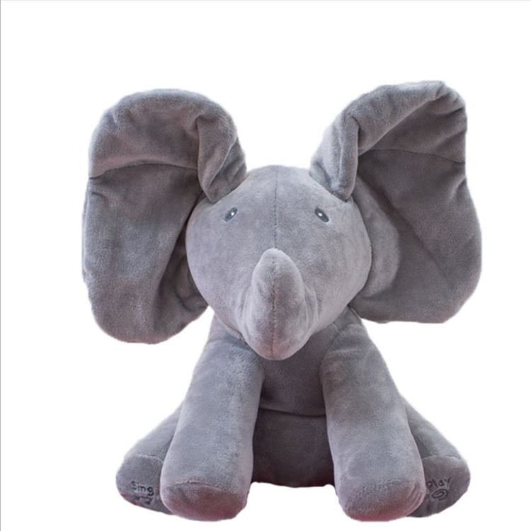 Wholesale Music Electric Elephant Plush Soft Toy singing Electrical musical elephant toy 30cm