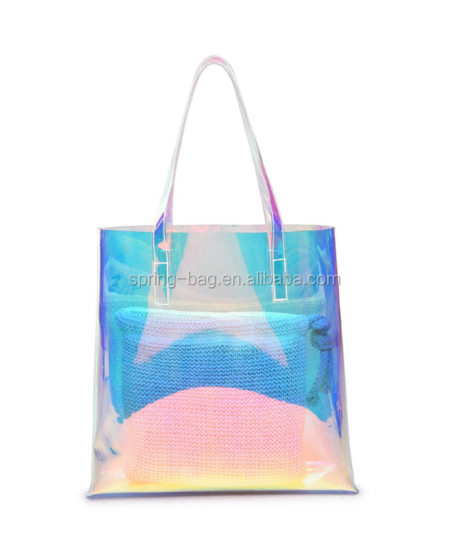 2018 New <strong>design</strong> Women's large cheap holographic laser pu beach tote bag for promotion