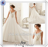 QQ132 A Line Off Shoulder Elegant Front Short and Long Bridal Gown