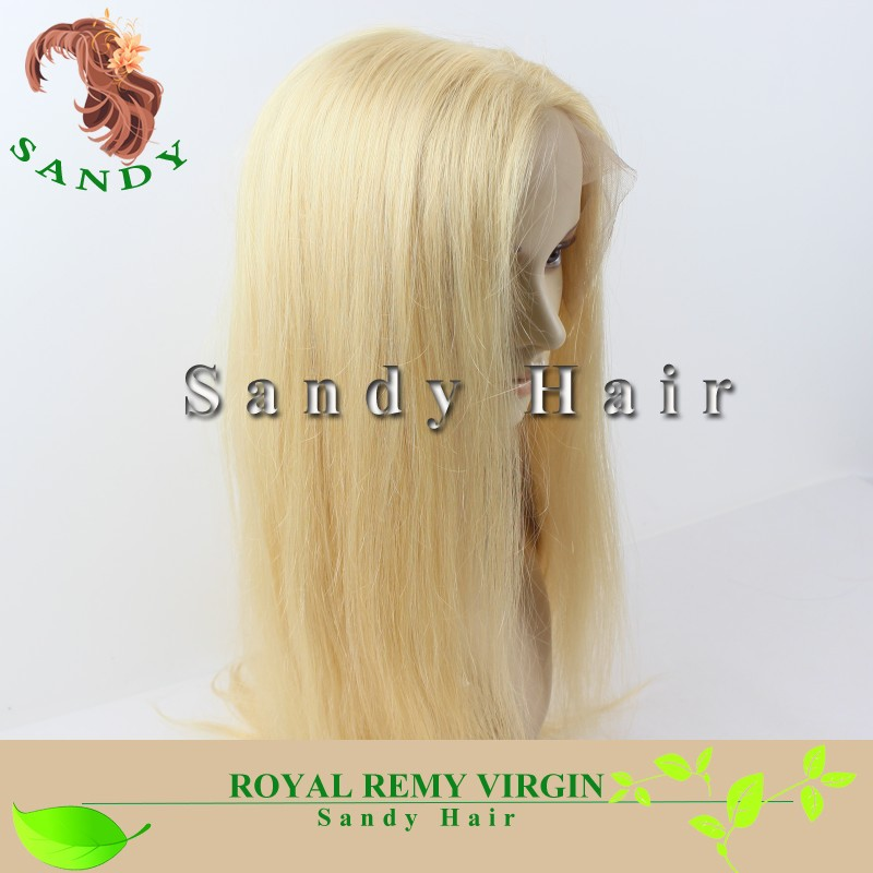 High Feedback Virgin Unprocessed Blonde Color Silky Straight 100% Russian Virgin Hair Wigs