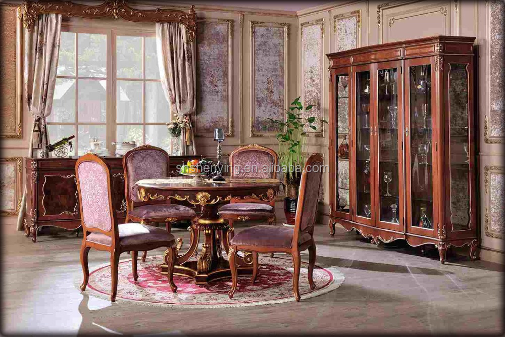royal classic dinning table, Italy style antique dinning set, royal Luxury dinning