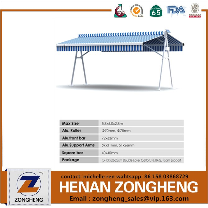 zongheng supply half cassette aluminum connector awning with LED lighting